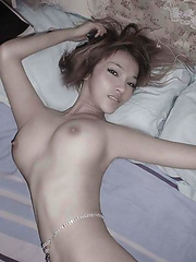 Skinny Chinese bitch in slutty poses